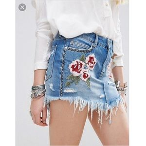 Free People Flower Embroidered Skirt New W Tags